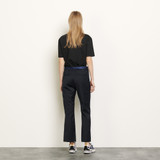 Straight leg trousers with braid trims  - Navy