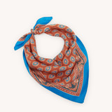 Blue printed silk scarf - Blue