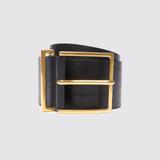 Wide leather black belt - Black