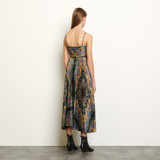 Long printed dress with straps - Black