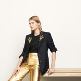 Tailored jacket with jewelled patches  - Navy