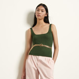 Ribbed knit cropped vest top  - Green