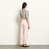 Printed cropped top in linen and silk - Ecru