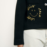 Shirt style cardigan with smiley - Black