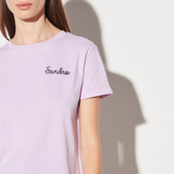 Sandro chain embroidery T shirt - Purple