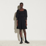 Dress with square neckline and smocking - Black