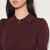 Sandro Paris Zip up sweater with polo collar - Red