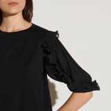 T shirt with intricate sleeves - Black