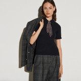 Sweater with shirt collar and scarf - Navy