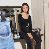 Ribbed sweater with square neckline  - Black