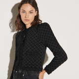 Quilted effect cardigan - Black