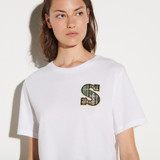 T shirt with tweed S patch - White