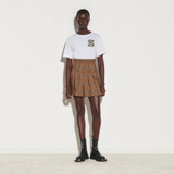 Checked shorts with pleats - Brown