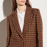 Houndstooth check tailored jacket  - Brown