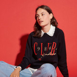 Sweatshirt style sweater with embroidery - Navy