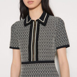 Knit dress with short sleeves  - Black