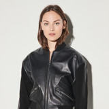 Leather mix jacket - Black