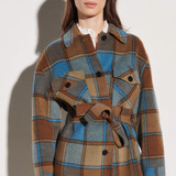 Checked jacket with belt - Brown