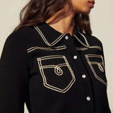 Topstitched denim-style milano cardigan - Black