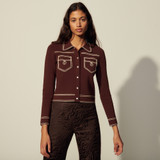 Topstitched denim-style milano cardigan - Brown