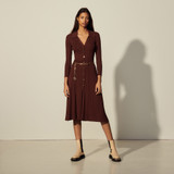 Long ribbed knit dress - Brown