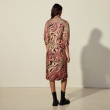 Long animal printed silk dress - Red