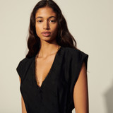 Jacquard fabric jumpsuit - Black