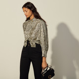 Black and white printed silk shirt - Ivory