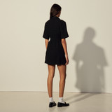 Sandro black short sleeve button down dress