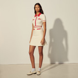 Embroidered short sleeve lapel knit dress - Ecru