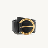 Leather belt with double S logo - Black