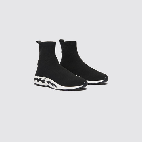 Sock Style Sneakers With Flames On The Sole - Black