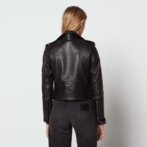 Short Leather Jacket - Black