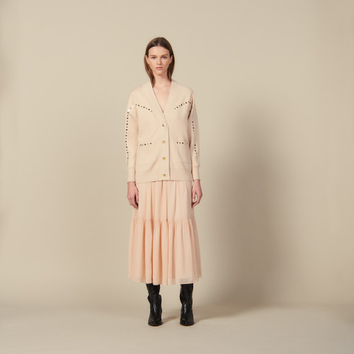 Cardigan coat trimmed with studs - Nude