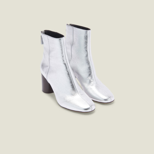 Metallic leather ankle boots - Silver