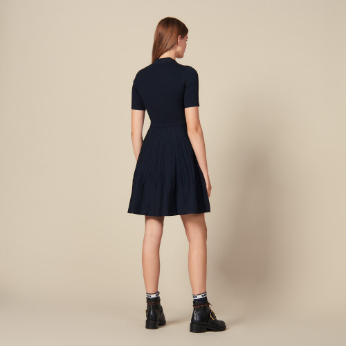 Knit dress with shirt collar  - Navy