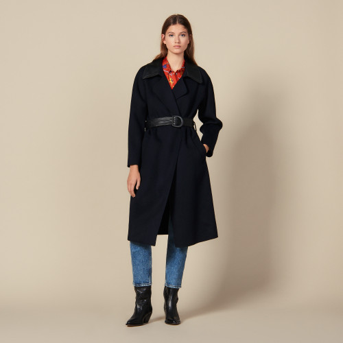 Double sided wool trench coat - Navy