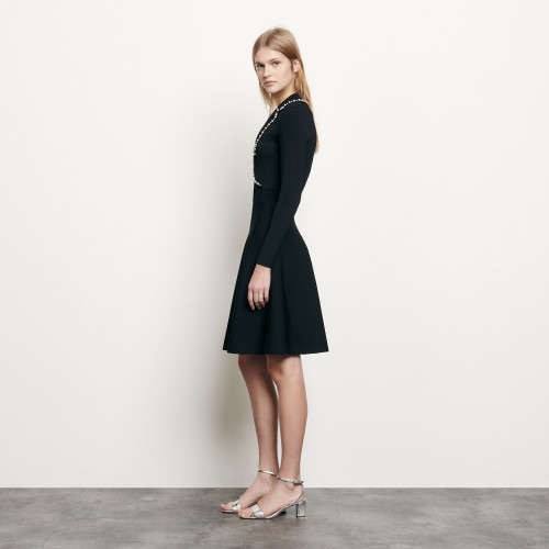 Short knit dress with tailored collar - Black