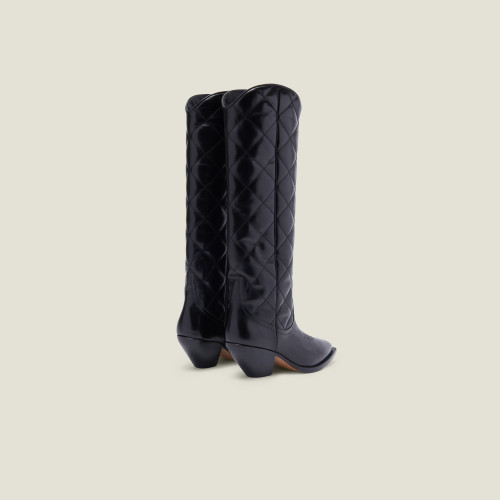 Quilted leather tall cowboy boots - Black