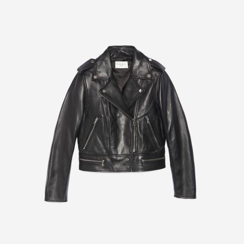 Short Leather Jacket in Black - Black