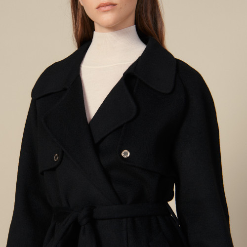Double sided black wool trench coat - Black