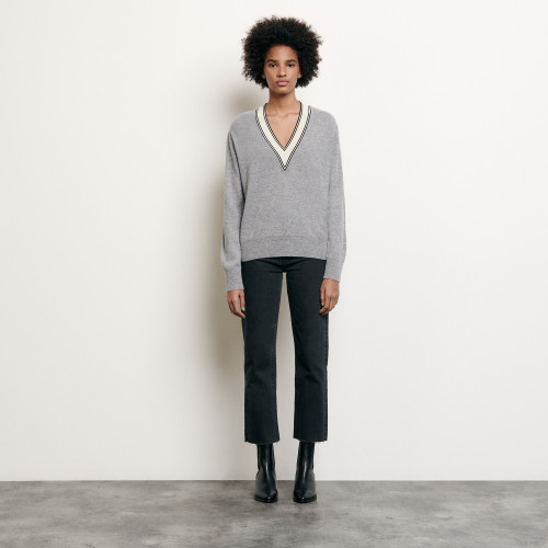 Sweater with constrasting neckline - Grey