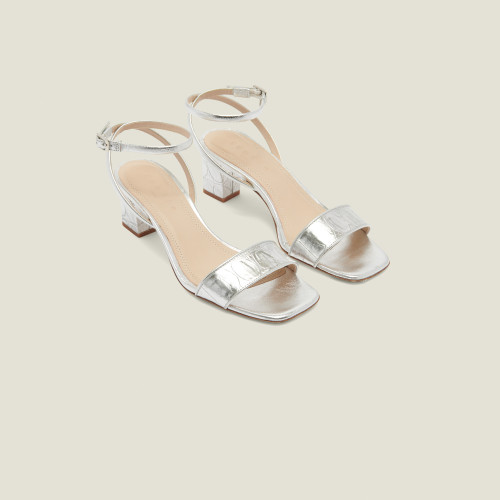 Embossed crocodile leather sandals