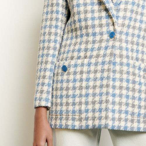 Jacquard top with double S logo - Blue