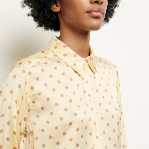 Classic shirt with polka dot print - Yellow