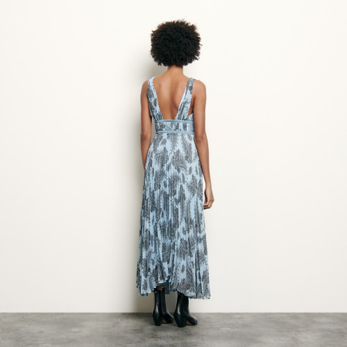 Long dress in printed chiffon - Blue