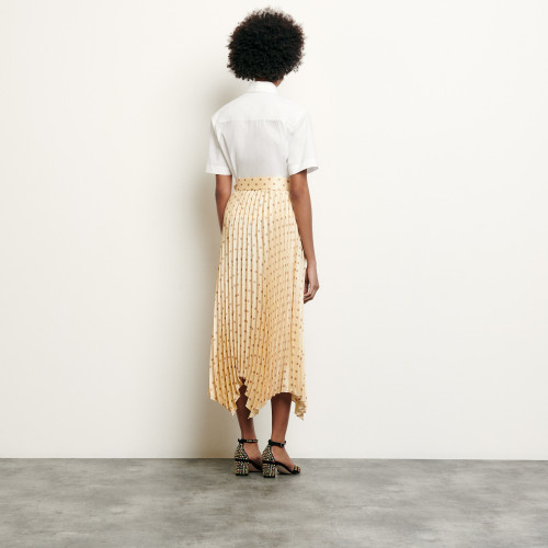 Pleated and printed skirt with belt  - Yellow
