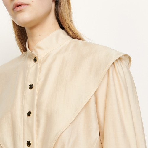 Short shirt with mandarin collar - Beige