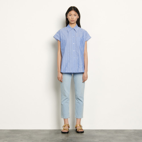 Oversized sleeveless shirt - Blue