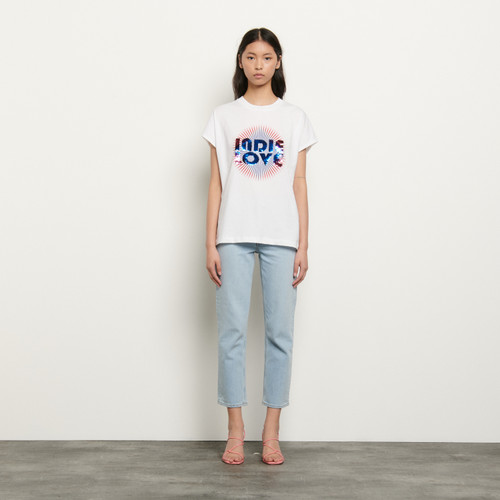 Organic cotton T shirt with sequins - White